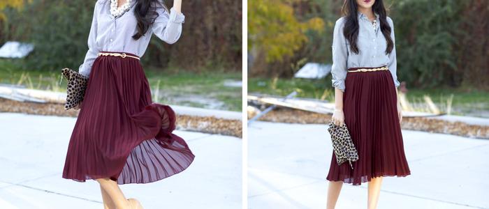С чем носить плиссированную юбку-миди