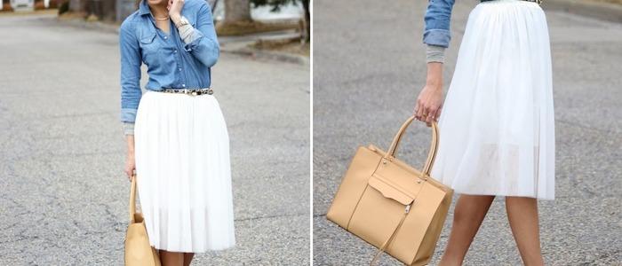 С чем носить прямую юбку-миди