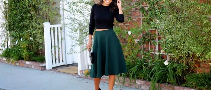 С чем носить юбку-миди осенью.