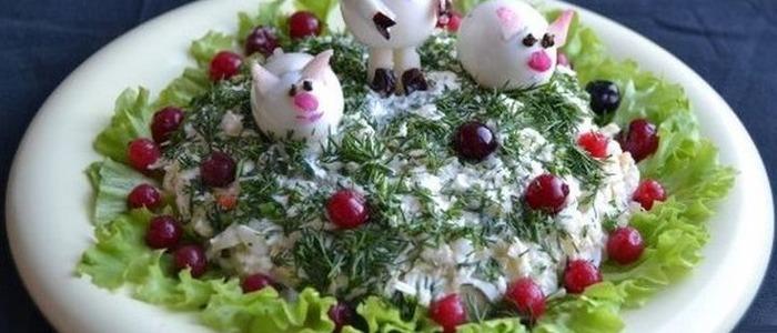 салат в форме свиньи.