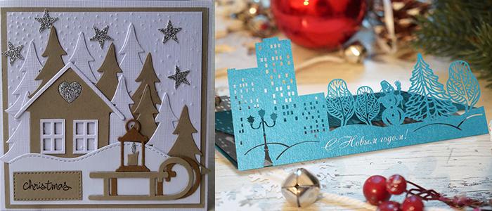 Стильная открытка на Новый год своими руками