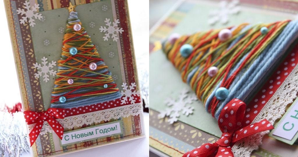 10 идей открыток на Новый год своими руками