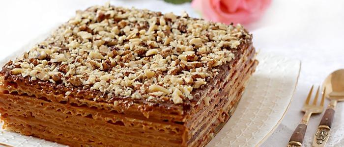 торт из вафельных коржей со сгущёнкой