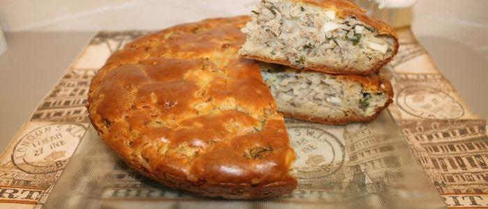 Заливной пирог на майонезе с лососем - рецепт пошаговый с фото