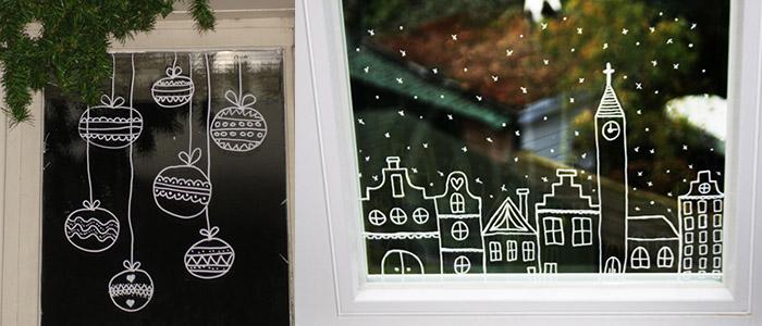 Как украсить окно на Новый год маркером