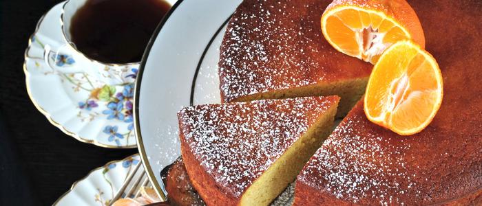творожный кекс с мандаринами.