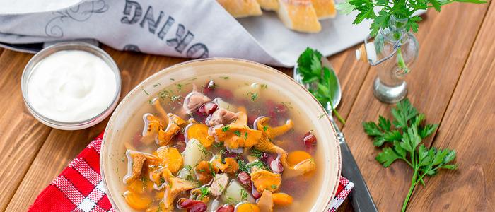 суп с замороженными лисичками