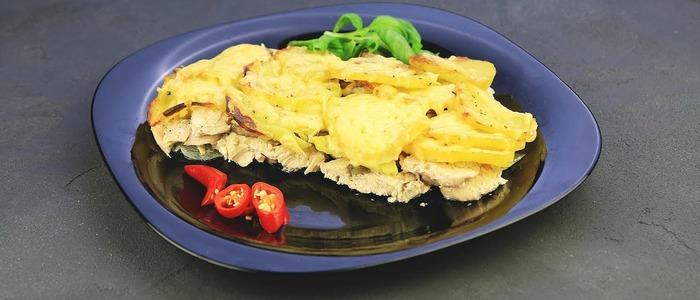 Гратен с курицей и картофелем