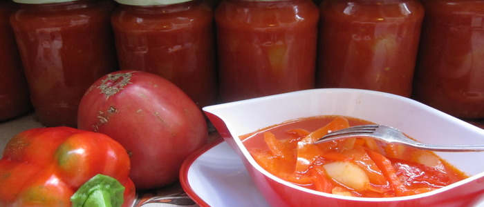 лечо из болгарского перца и помидоров